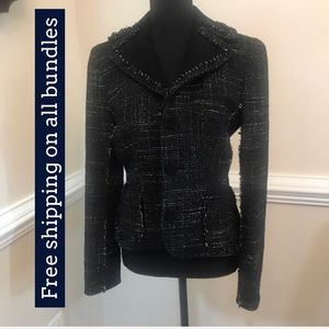 Ann Taylor Black Tweed Blazer Jacket Size 4